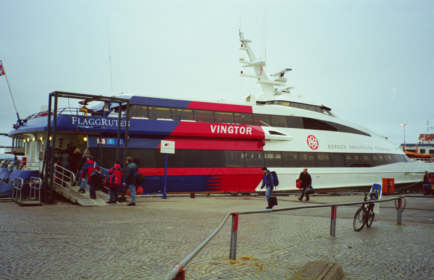 Passengers boarding one of the high-speed ferries to Bergen